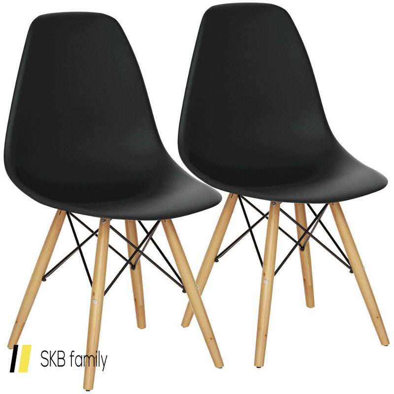 Set Of 2 Mid Century Modern Dining Chairs With Wooden Legs 200815-23285