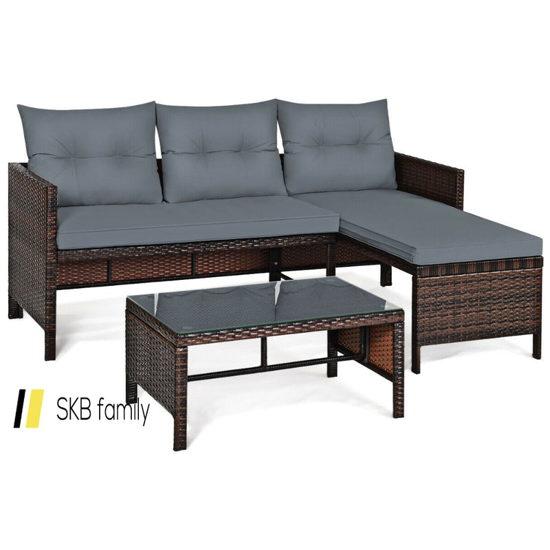 3 Piece Patio Wicker Rattan Sofa Set 200815-23474