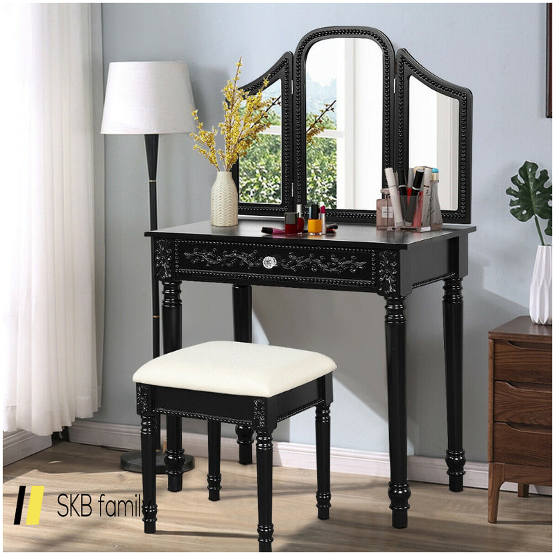 Vanity Dressing Makeup Table Set With Tri-Folding Mirror And Stool 200815-23583