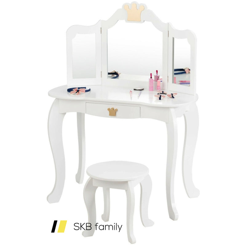 Kids Makeup Dressing Table With Tri-Folding Mirror And Stool 200815-23948