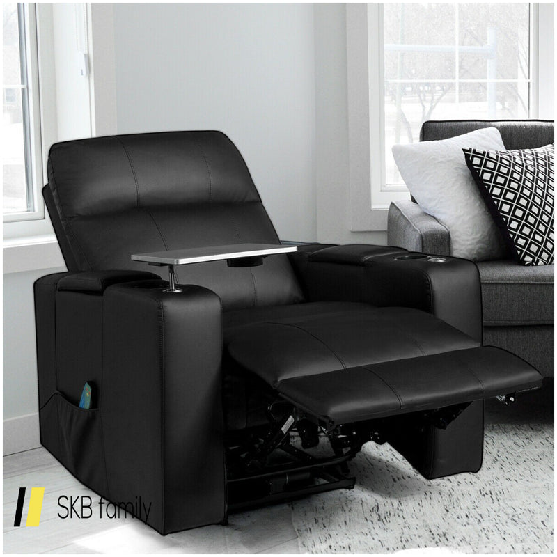 Massage Recliner Chair Seating With Swivel Tray&Remote Control 200815-24317