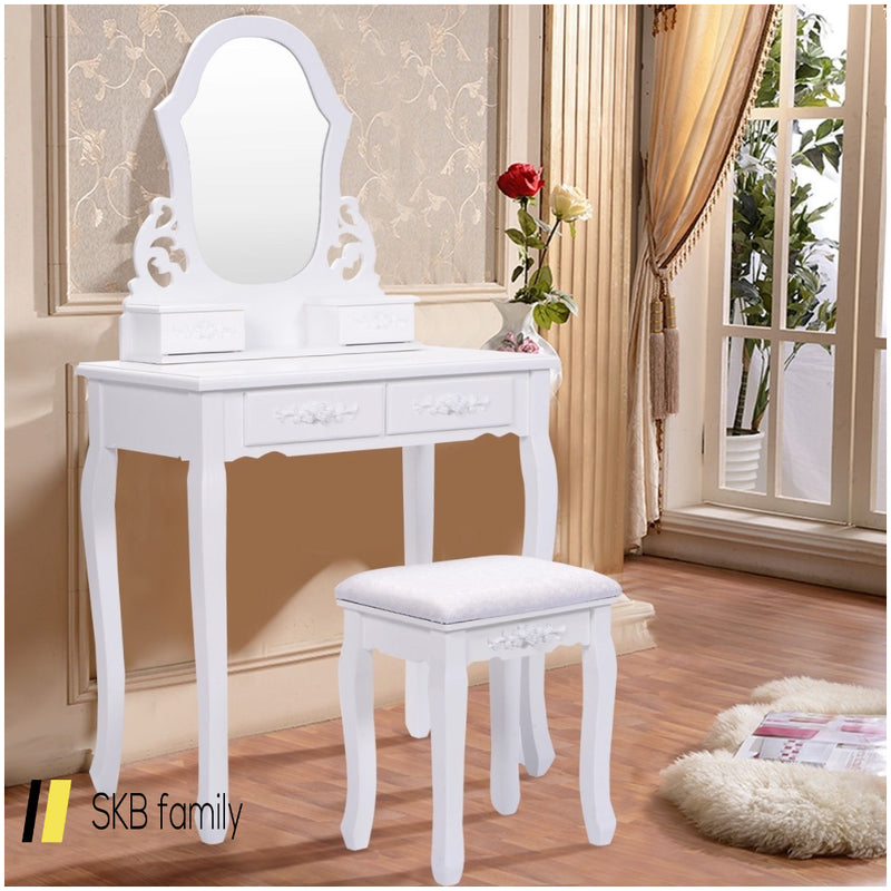 Vanity Makeup Dressing Table With A Mirror And 4 Drawers 200815-24403