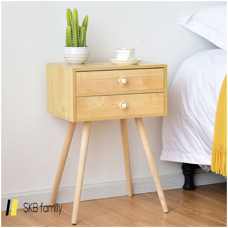 Mid Century Modern 2 Drawers Nightstand In Natural 200815-24575