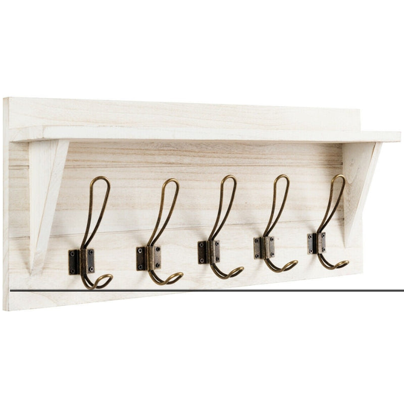 Rustic Wooden Wall-Mounted Entryway Hanging Shelf 200815-24597