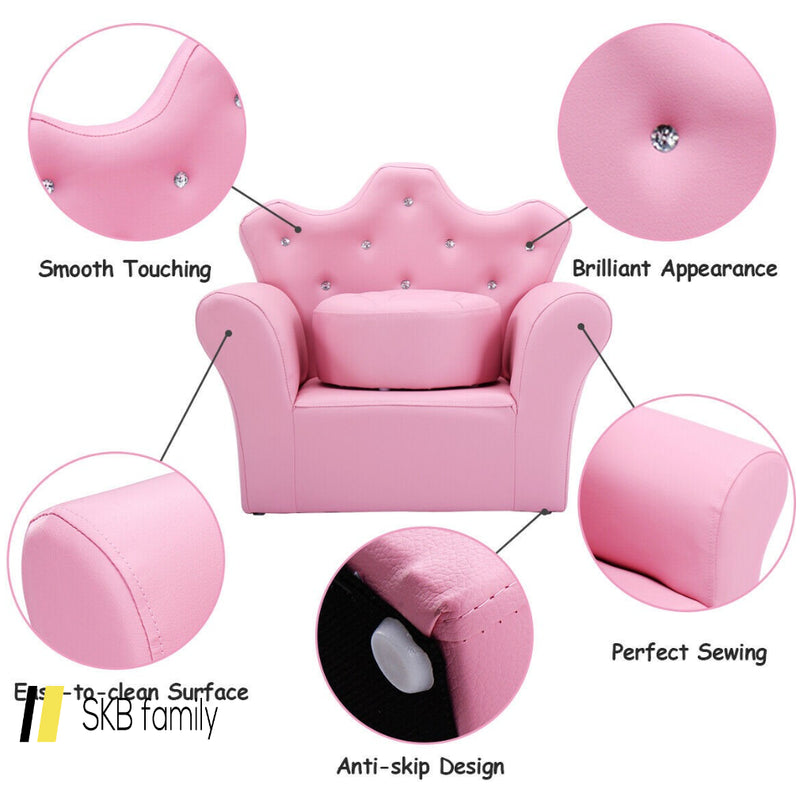 Pink Kids Sofa Armrest Couch With Ottoman 200815-21926