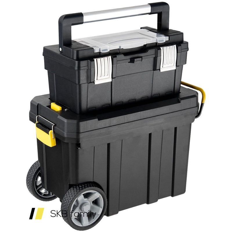 2-In-1 Rolling Tool Box Set Mobile Tool Chest Storage Organizer Portable Black 200815-21928