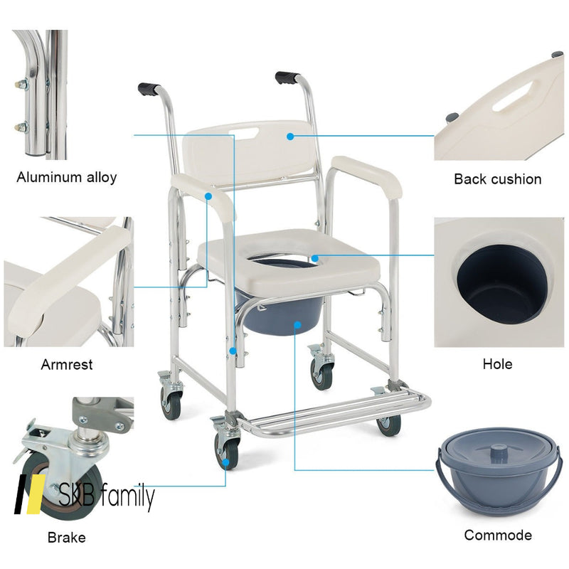 Medical Commode Toilet Seat Shower Wheelchair With Locking Casters 200815-21937