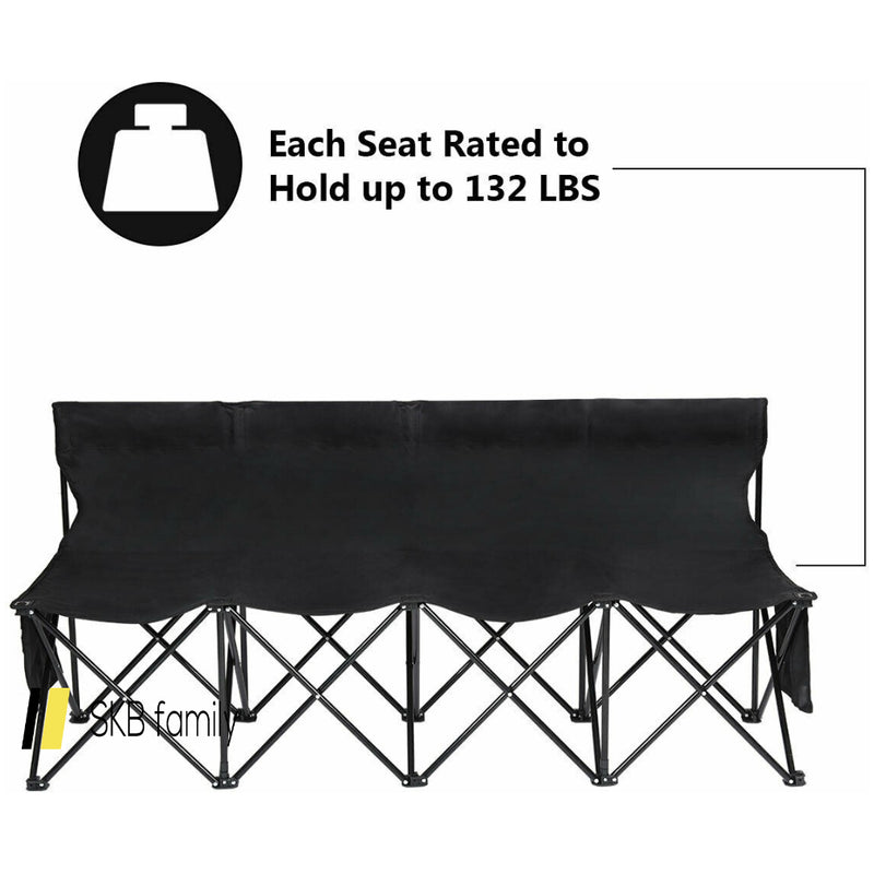 Folding 4 Seats Sports Sideline Bench Outdoor With Side Bag 200815-21945