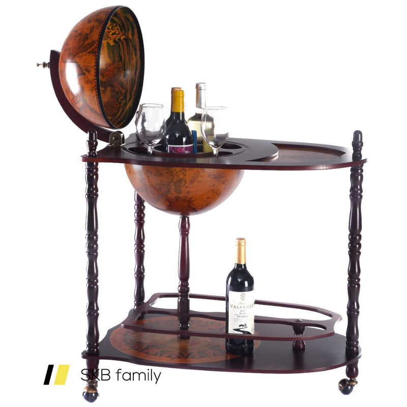 Vintage Globe Wine Stand Bottle Rack With Extra Shelf 200815-21962