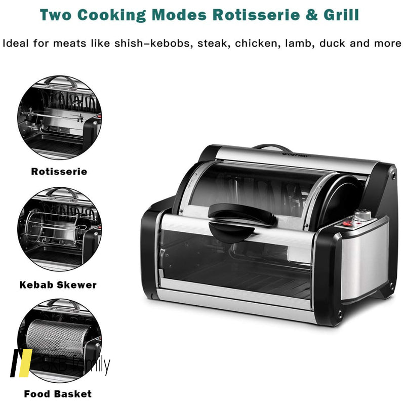 Horizontal Rotating Kebob Skewer Roaster Oven Grill 200815-21963