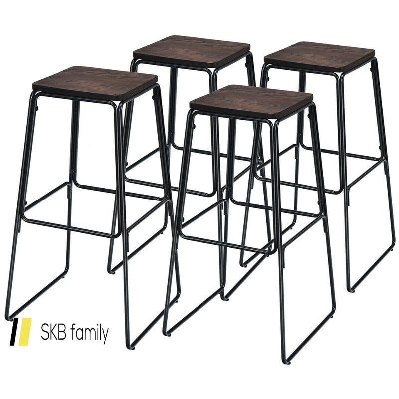 "30"" Set Of 4 Backless Industrial Bar Stools 200815-21975"