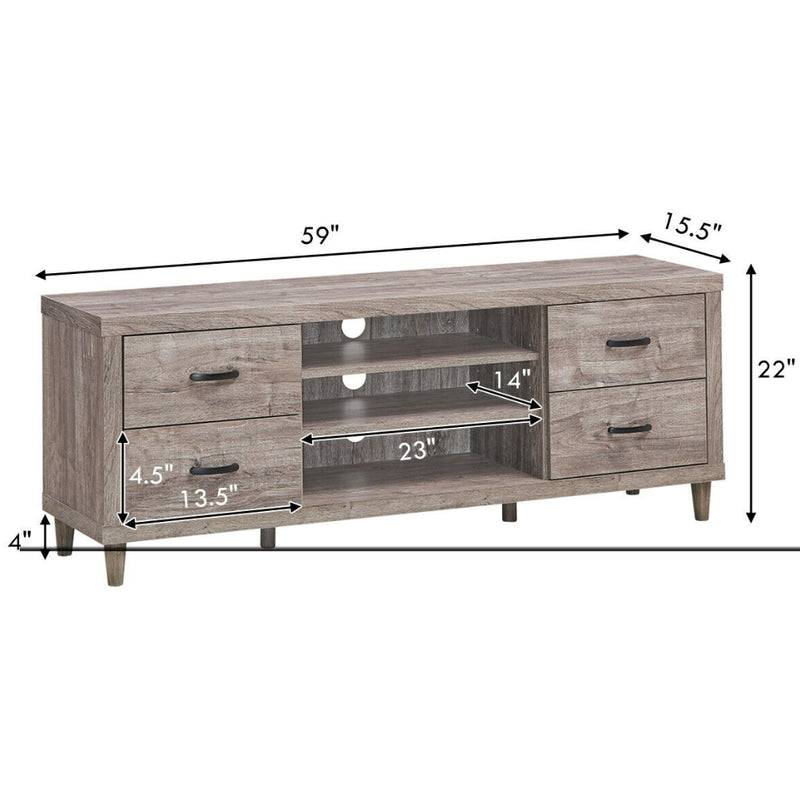 "65"" Tv Stand With Storage Shelves & 4 Drawers 200815-21980"