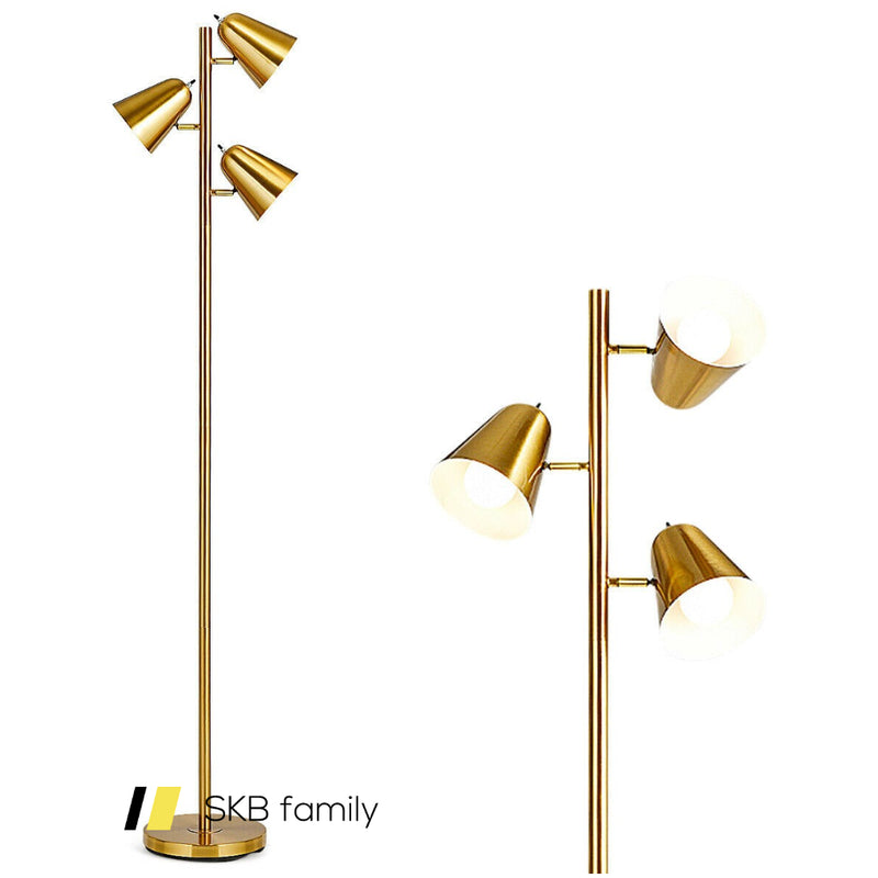 "64"" Antique Brass 3 Light Led Reading And Floor Lamp 200815-21983"
