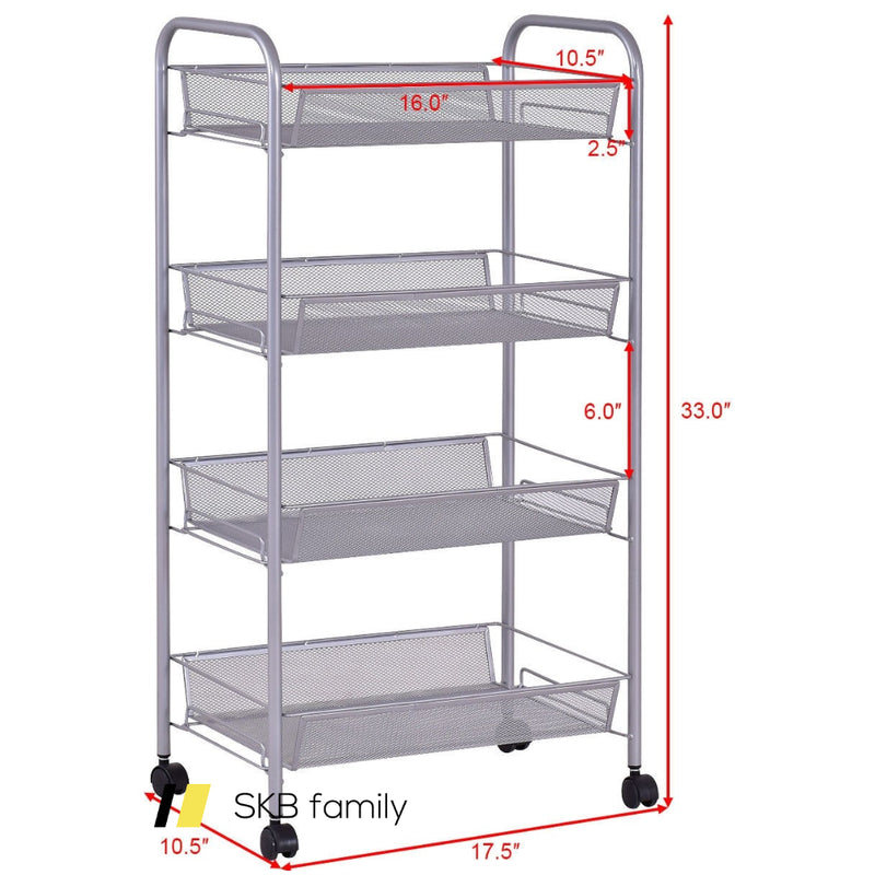 Black/Gray 4 Tier Storage Rack Trolley Cart 200815-21984