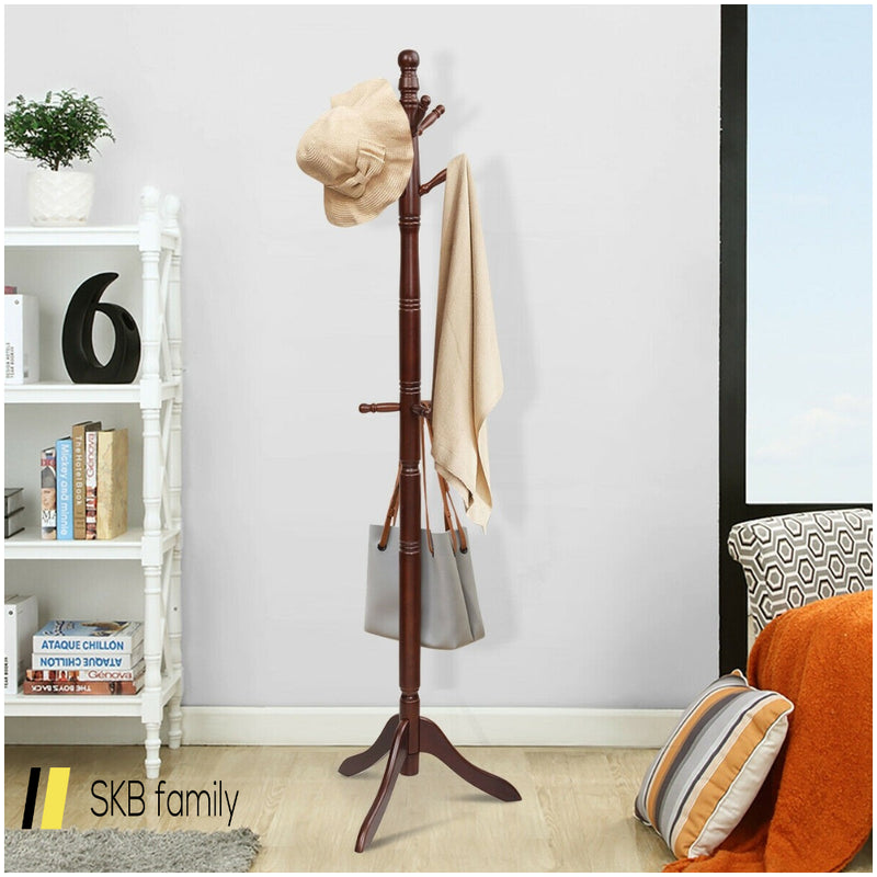 Adjustable Free Standing Wooden Coat Rack 200815-21991