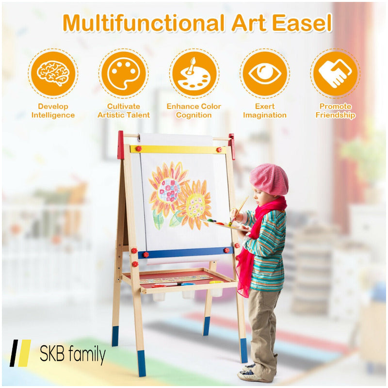 All-In-One Wooden Height Adjustable Kid'S Art Easel 200815-21998