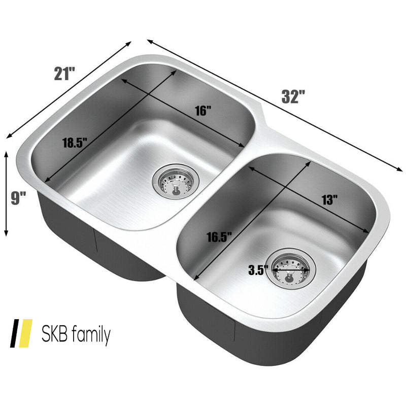 "32"" Stainless Steel Double Bowl Kitchen Sink 200815-22005"