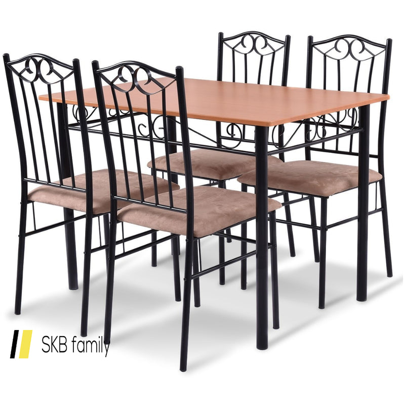 5 Pcs Dining Set Wooden Table And 4 Cushioned Chairs 200815-22018