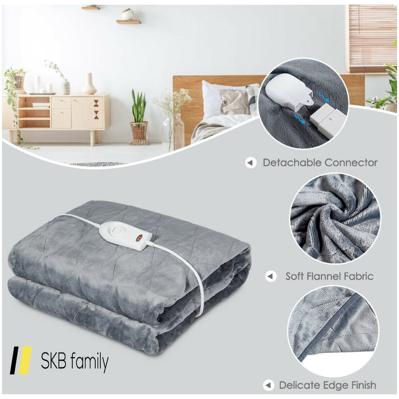 Flannel Electric Blanket Heated Throw With 3 Heat Settings 200815-22019