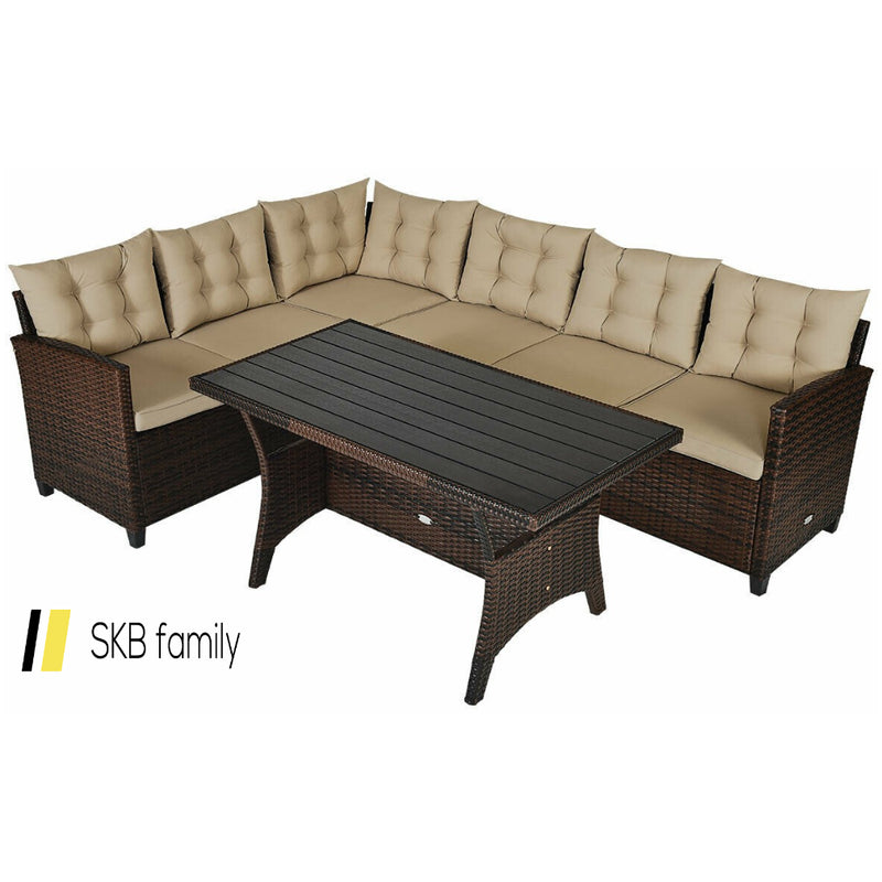 3 Pcs Rattan Dining Set Patio Furniture Sofa With Cushions 200815-22079