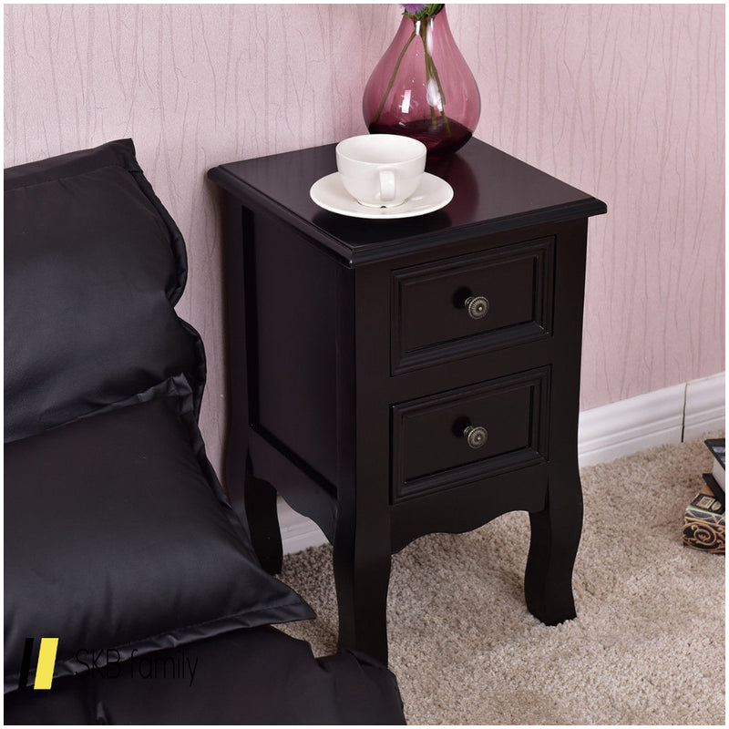 Wood Accent End Nightstand With 2 Storage Drawers 200815-22096