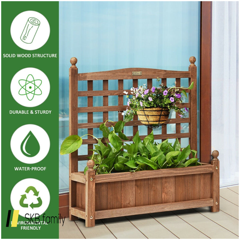 Solid Wood Planter Box With Trellis Weather-Resistant Outdoor 200815-22105