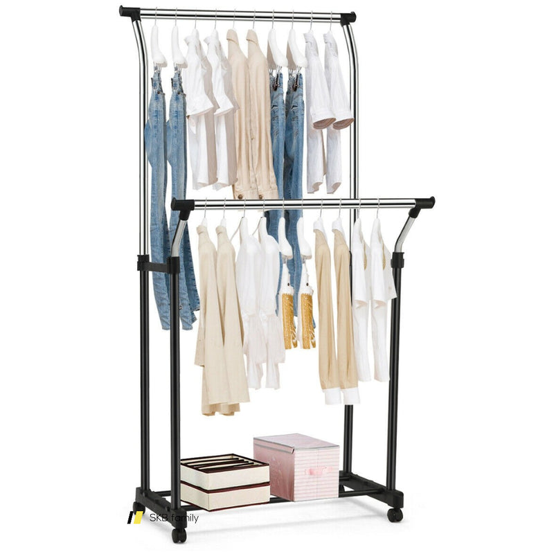 Double Rail Adjustable Clothing Garment Rack With Wheels 200815-22127