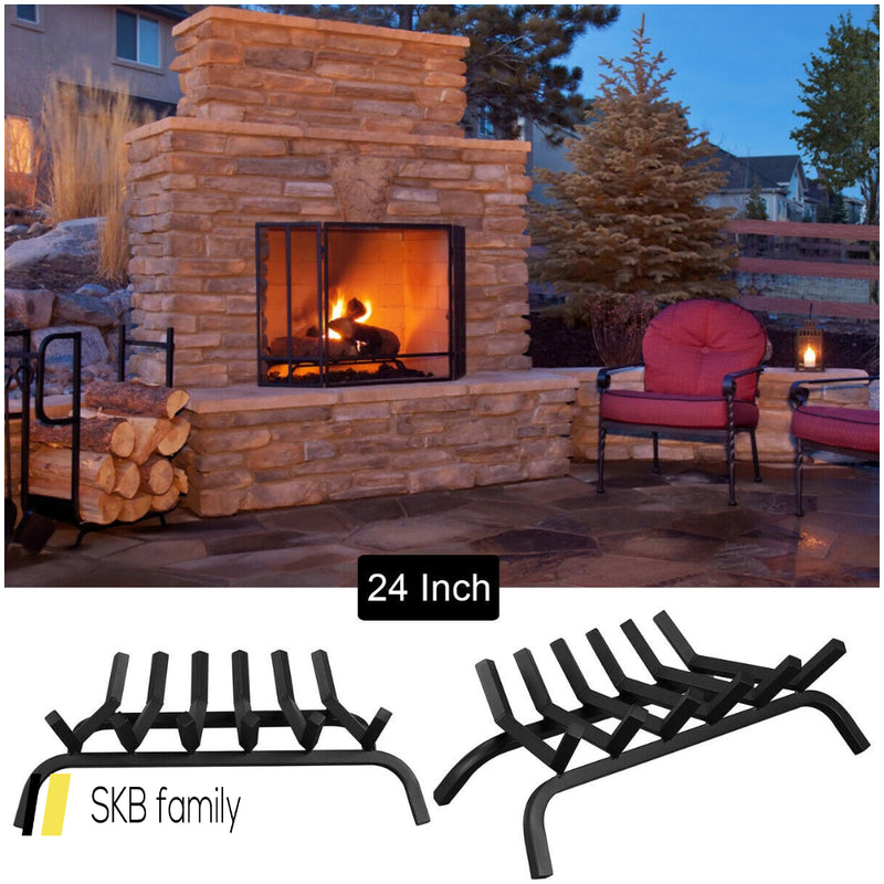 "24"" Iron Fireplace Log Grate Firewood Burning Rack 200815-22128"