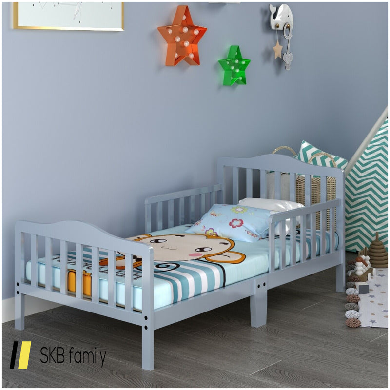 Classic Kids Wood Bed With Guardrails 200815-22132