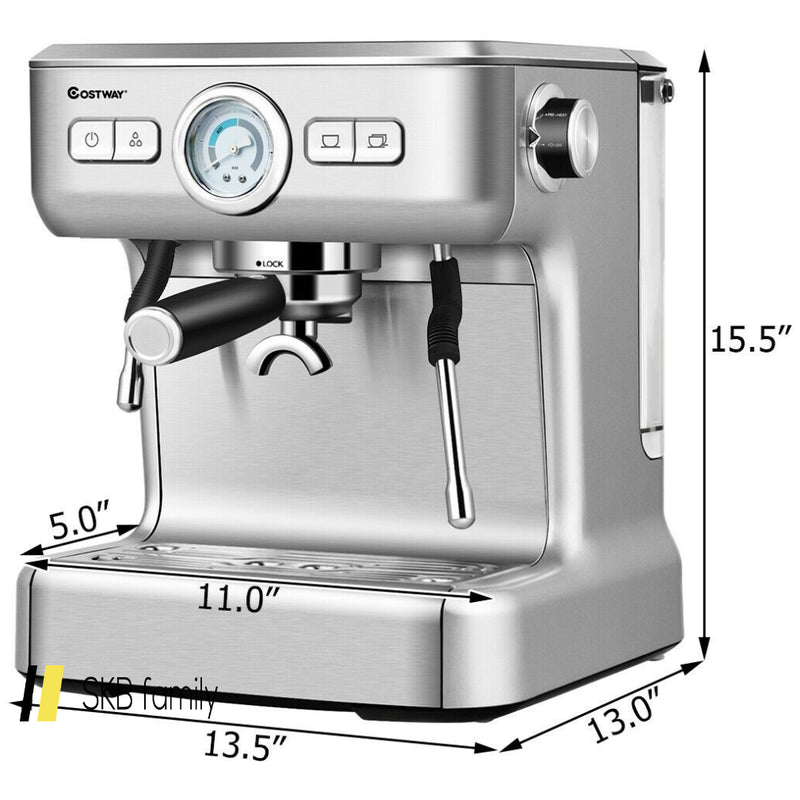 15 Bar Semi-Auto Espresso Coffee Maker Machine /W Milk Frother Steam Wand 200815-22140