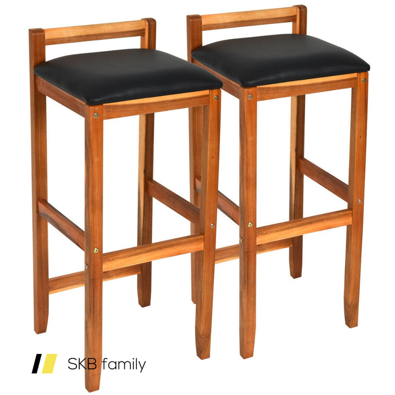 Set Of 2 Acacia Solid Wood Counter Height Bar Stool 200815-22189