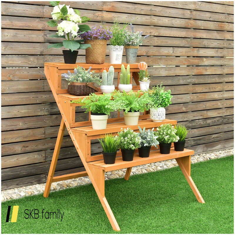 4 Tiers Wood Ladder Step Flower Pot Holder Plant Stand 200815-22203