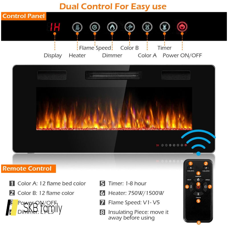 "42"" Recessed Ultra Thin Wall Mounted Electric Fireplace 200815-22205"