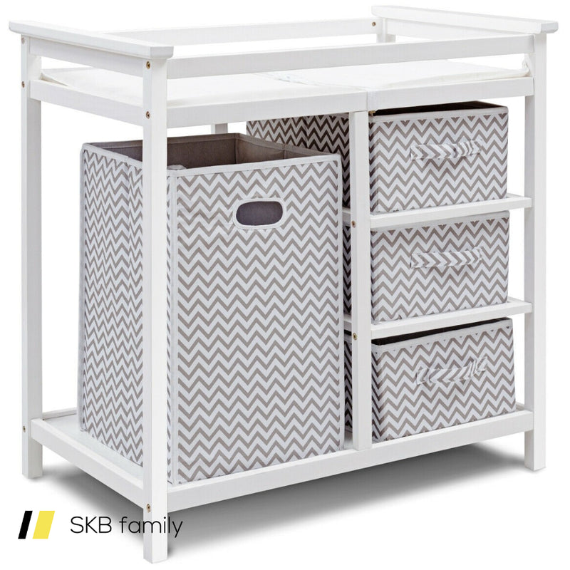 Infant Changing Table With 3 Basket Hamper Diaper Storage 200815-22215