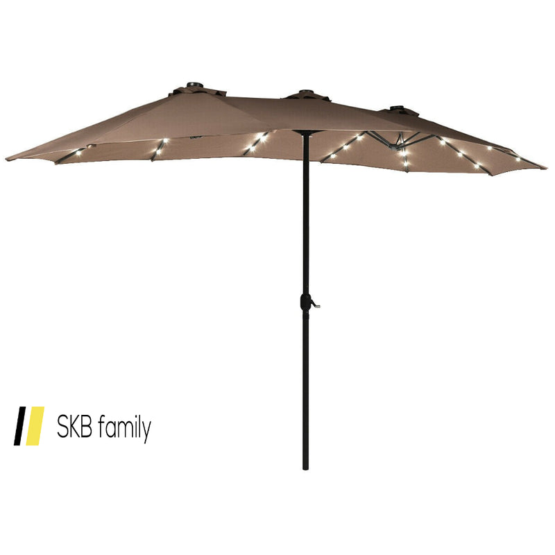 15 Ft Patio Led Crank Solar Powered 36 Lights Umbrella 200815-22231