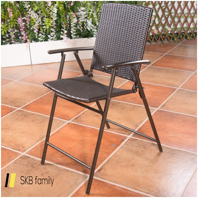 4 Pcs Rattan Wicker Folding Chairs 200815-22236