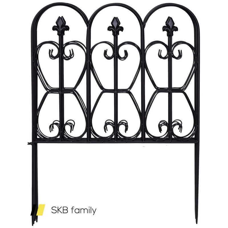 Folding Decorative Garden Fence With 5 Coated Metal Panels 200815-22237