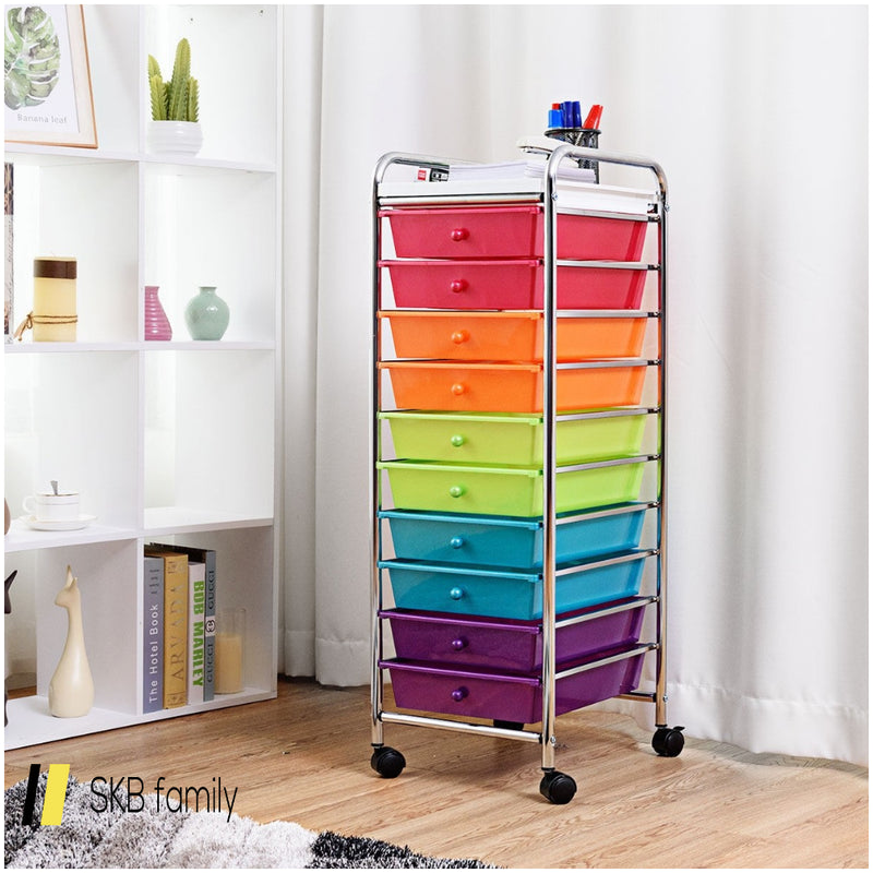 10 Drawers Rolling Organizer Cart Craft Utility Mobile Trolley 200815-22247