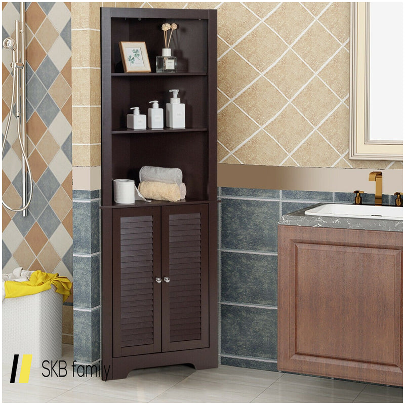 Free Standing Tall Bathroom Corner Storage Cabinet With 3 Shelves 200815-22249