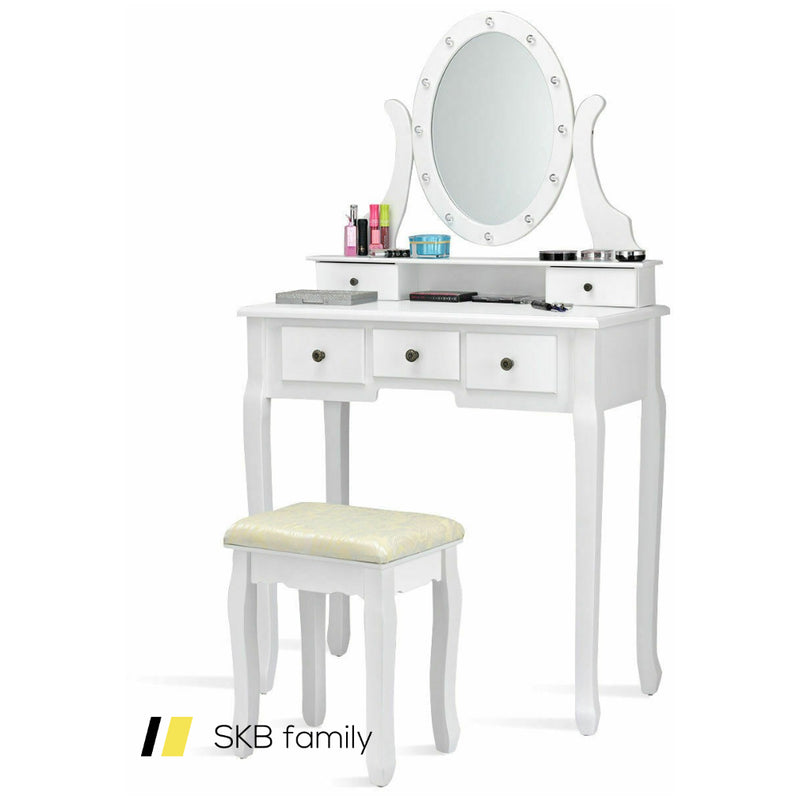 5 Drawers Vanity Table Stool Set With 12-Led Bulbs 200815-22269
