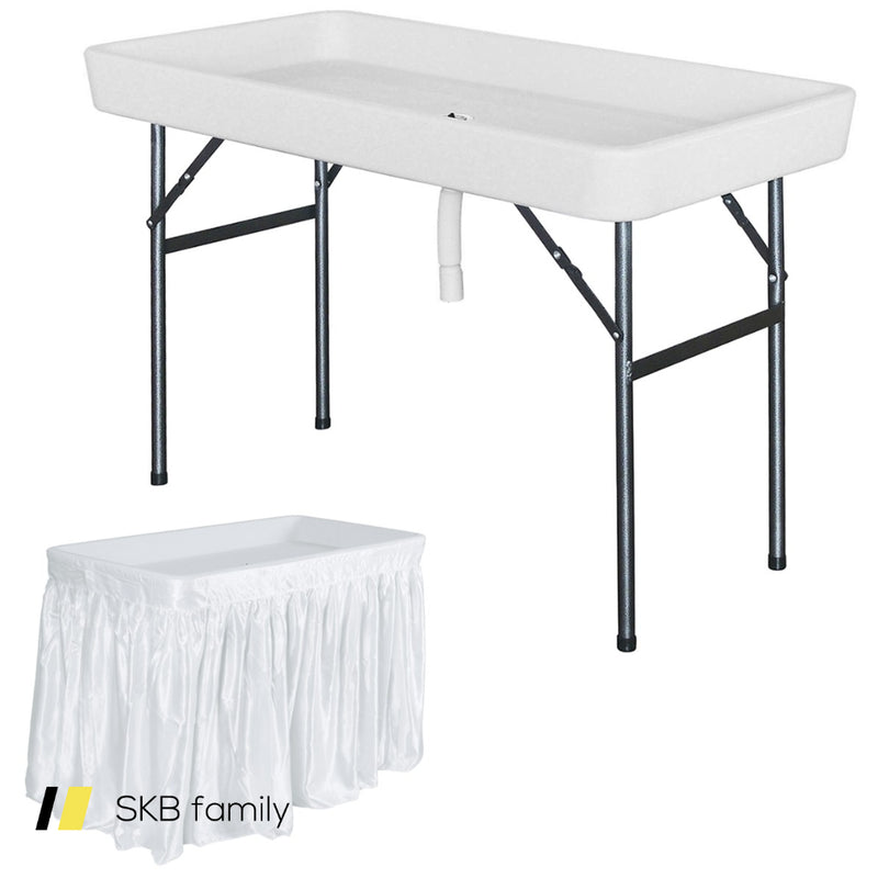 4 Foot Plastic Party Ice Folding Table With Matching Skirt 200815-22275