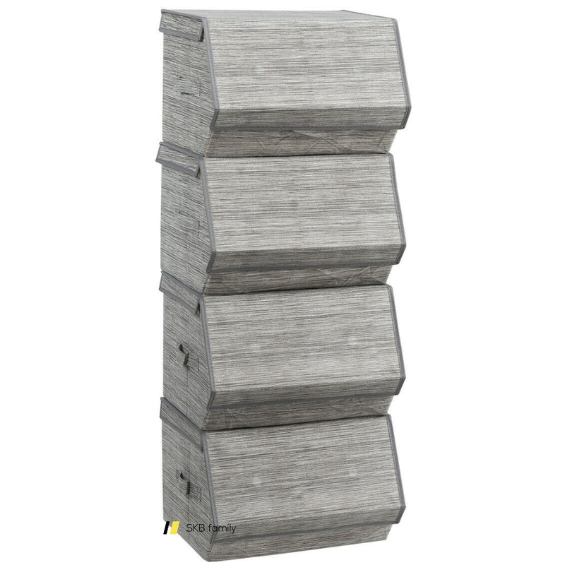 Set Of 4 Storage Bins Stackable Cubes With Lid 200815-22284