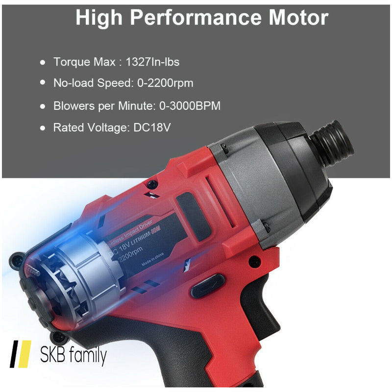 18v Cordless Driver Impact Tool Kit With Led Light 200815-22298