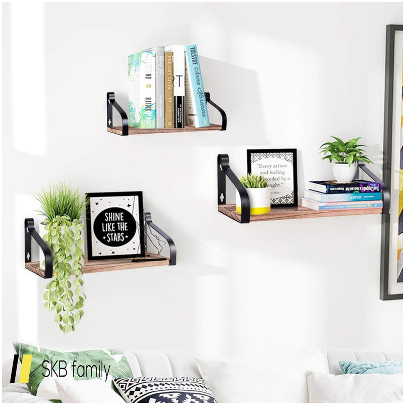 Set Of 3 Wall Mount Floating Shelves Rustic Wood Storage Shelves 200815-22312