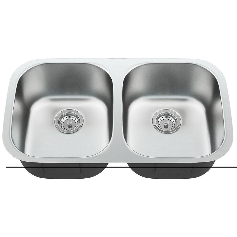 "32-1/2"" Stainless Steel Double Bowl Kitchen Sink 200815-22345"