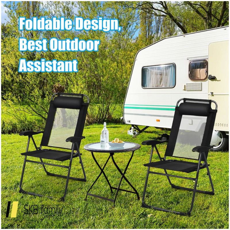 2 Pcs Patio Adjustable Folding Recliner Chairs 200815-22366