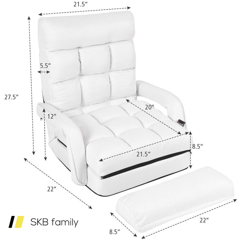 Folding Floor Massage Chair Lazy Sofa With Armrests Pillow 200815-22374