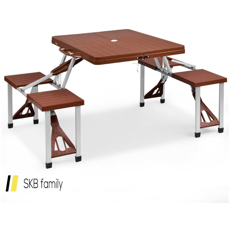 Outdoor Foldable Aluminum Picnic Table With Bench Seats 200815-22394