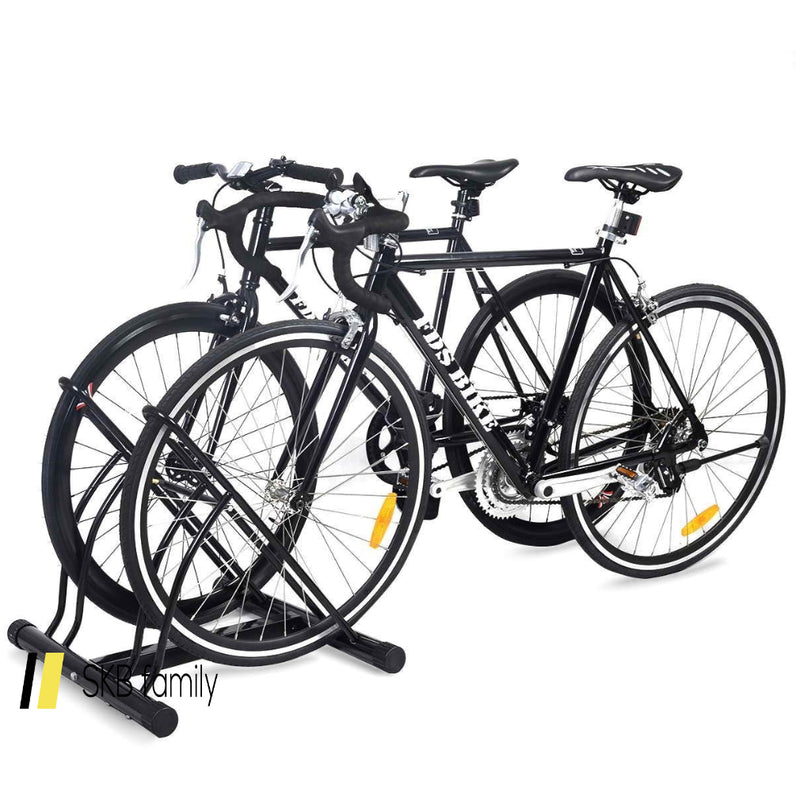 Bike Stand Cycling Rack Floor Storage Organizer For 2-Bicycle 200815-22404