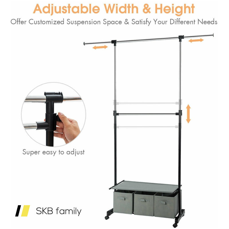 2-Rod Adjustable Garment Rack With Shelf & Storage Boxes 200815-22406